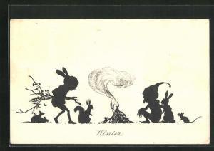AK Scherenschnitt, Winter, Hase, Maus, Eichhörnchen vor Lagerfeuer