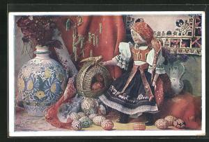AK Puppe in tschechoslowakischer Tracht mit bunten Ostereiern