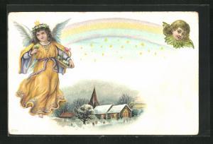 AK Weihnachtsengel mit Blumenkorb, Regenbogen und Sterne, Kirche unter Schneedecke