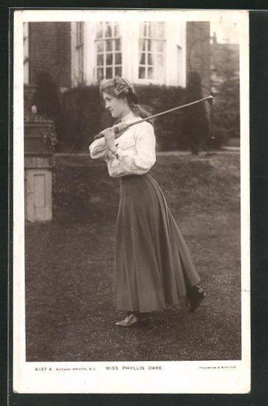 AK Schauspielerin Phyllis Dare mit Golfschläger 0