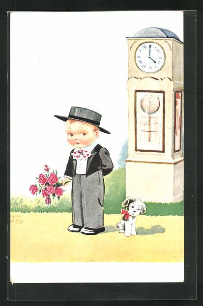 Künstler-AK John Wills: schüchterner Bube mit Blumenstrauss und Hund wartet vor einer Uhr 0