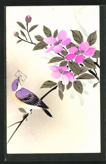Künstler-AK Japanische Kunst mit Blüte und Briefvogel 0