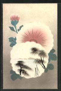 Künstler-AK Japanische Kunst mit schöner Blüte und Blick auf das Meer