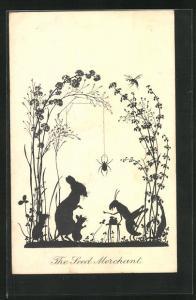 AK Scherenschnitt, The Seed Merchant, Grashüpfer mit Mäusefamilie am Tisch