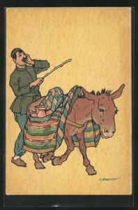 Künstler-AK sign. Oskar Schmerling: russischer Strassenhändler mit Esel, Tiflis in Georgien