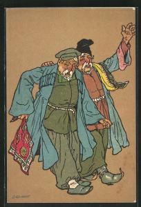 Künstler-AK sign. Oskar Schmerling: zwei alte Herren in russischer Tracht, Tiflis in Georgien