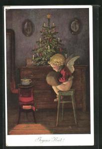 AK Joyeux Noel, Weihnachtsengel mit Pelzmuff
