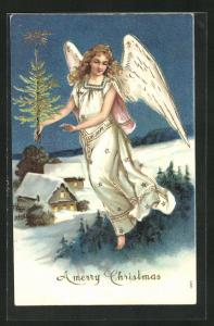 Präge-AK A merry Christmas, Weihnachtsengel mit Tannenbaum