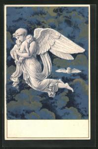 AK Engel mit zwei Baby's im Arm, Jugendstil