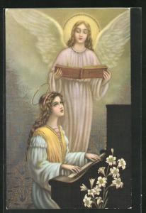 AK Mädchen am Klavier, Engel mit Liederbuch