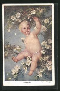 AK Honigmond, kleiner Engel auf einem Ast