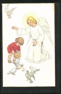AK Engel beschützt Mädchen das Tauben füttert