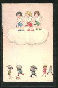 AK Engel mit Giesskanne auf einer Wolke