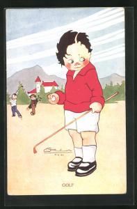 AK Junge beim Golf spielen
