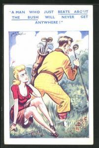 AK Paar beim Golf Spiel