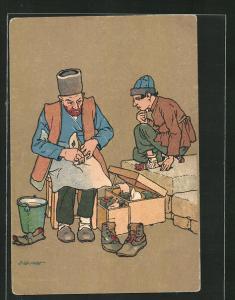 Künstler-AK sign. Oskar Schmerling: Tiflis, Georgische Typen, Schuhmacher