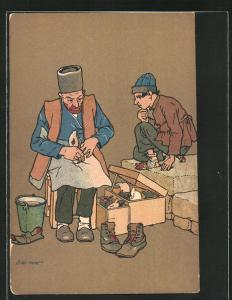 Künstler-AK sign. Oskar Schmerling: Tiflis, Georgische Typen, Schuster