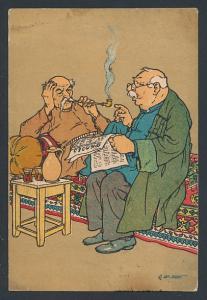 Künstler-AK sign. Oskar Schmerling: Tiflis, Georgische Typen, Männer mit Pfeife und Zeitung