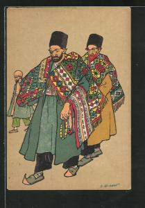 Künstler-AK sign. Oskar Schmerling: Teppichhändler aus Tiflis, Georgien