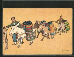 Künstler-AK sign. Oskar Schmerling: Tiflis / Georgien, Mit Waren beladene Esel auf dem Weg zum Markt