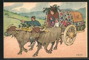Künstler-AK sign. Oskar Schmerling: Tiflis / Georgien, georgische Familie auf ihrem Ochsenkarren