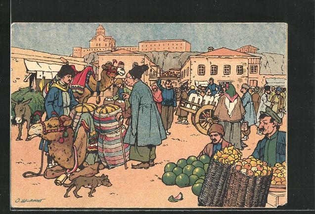Künstler-AK sign. Oskar Schmerling: Tiflis / Georgien, Buntes Treiben auf dem Markt 0
