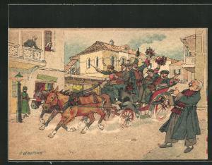 Künstler-AK sign. Oskar Schmerling: Tiflis / Georgien, Männer auf einer Kutsche feiern ein glückliches Ereignis
