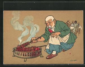 Künstler-AK sign. Oskar Schmerling: Tiflis / Georgien, Alter Georgier grillt Fleischspiesse
