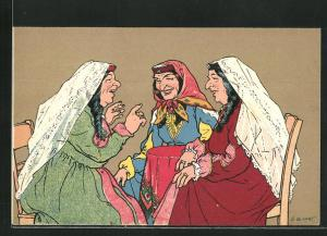 Künstler-AK sign. Oskar Schmerling: Tiflis / Georgien, Georgische Frauen im angeregten Gespräch