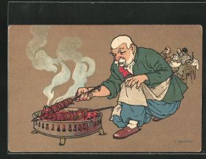 Künstler-AK sign. Oskar Schmerling: Tiflis / Georgien, Alter Georgier grillt Fleischspiesschen