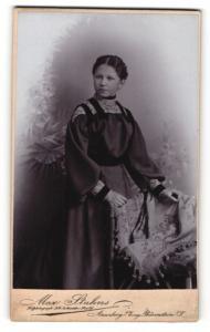 Fotografie Max Stahns, Annaberg i / Erzg., Portrait junge Dame im modischen Kleid mit Flechtfrisur