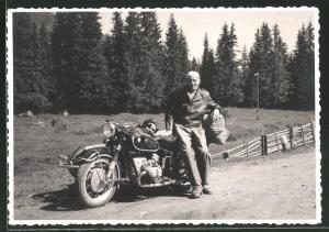 Fotografie Motorrad BMW, Krad mit Boxer-Motor und Seitenwagen