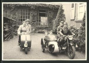 Fotografie Motorrad Vespa & DKW, Krad mit Seitenwagen