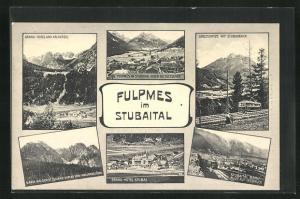 AK Fulpmes, Panorama, Grand-Hotel und Kalkkögel