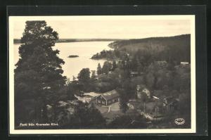AK Kvarsebo, Partie fran Kvarsebo Klint, Häuser am Ufer
