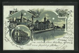 Mondschein-Lithographie Mülhausen, Theater, Neue Post mit Rhein-Rhone-Canal, Ballwerk