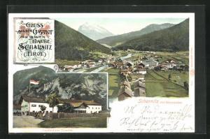AK Scharnitz, Gasthof zur Traube, Ortsansicht mit Gleierspitze