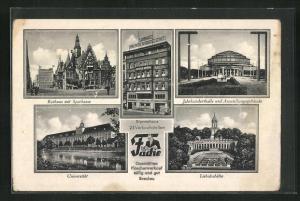 AK Breslau, Stammhaus Fache, Rathaus mit Sparkasse, Universität, Jahrhunderthalle, Liebichshöhe