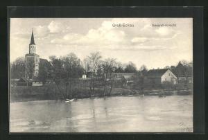 AK Gross-Eckau, Gesamtansicht mit Kirche