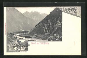 AK Zillerthal, Gasthaus Schliffstein, Gesamtansicht mit Gebirge
