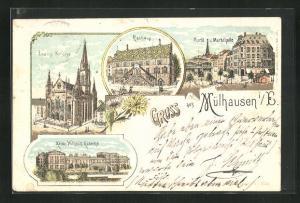 Lithographie Mülhausen, Markt und Markthalle, Rathaus, ev. Kirche und Kaiser-Wilhelm-Kaserne