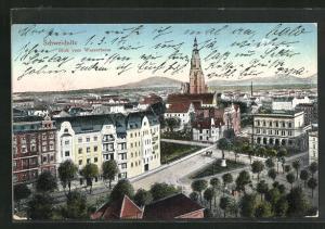 AK Schweidnitz, Blick vom Wasserturm zur Kirche