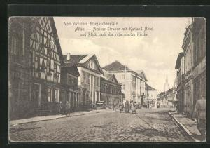 AK Mitau, Accisse-Strasse mit Kurland-Hotel