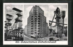 AK Kattowitz, Hochhaus, Hochofen, Förderturm