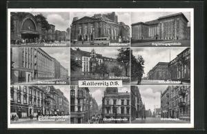 AK Kattowitz, Friedrichstrasse mit Konditorei Otto, Technische Schule, Bernhardstrasse