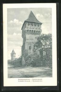 AK Hermannstadt / Nagyszeben, Befestigungstürme an der Harteneckgasse