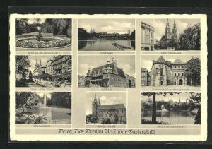 AK Brieg, Herzog-Georg-Strasse, Rathaus, kath. Pfarrkirche, Piastenschloss