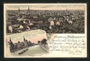Lithographie Mülhausen, Panoramablick vom Berg, Ortspartie am Fluss