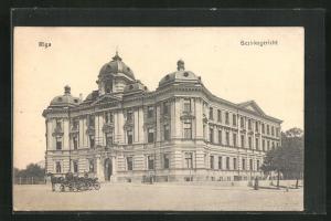 AK Riga, Bezirksgerich mit Pferdekutsche
