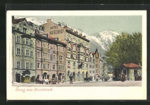 Künstler-AK Innsbruck, Strassenansicht mit Hotel Kaiserhof